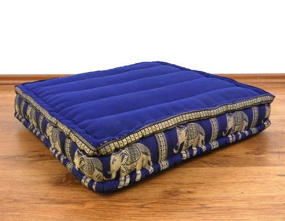Sitzkissen, Bodensitzkissen mit Seidenstickerei  *blau - Elefanten*