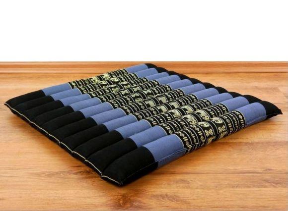 Kapok Sitzkissen, Bodenkissen  *blau / Elefanten*  (groß)
