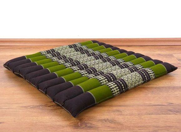 Steppkissen, Stuhlauflage  *braun / grün*  (groß)