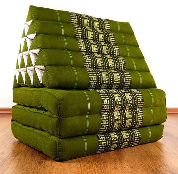Thaikissen, Dreieckskissen  *grün / Elefanten*  (XXL-Höhe)