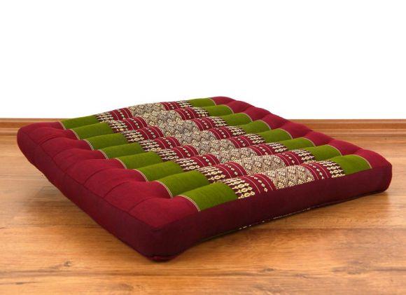 Asiatisches Sitzkissen, Stuhlkissen  *rot / grün*  (groß)