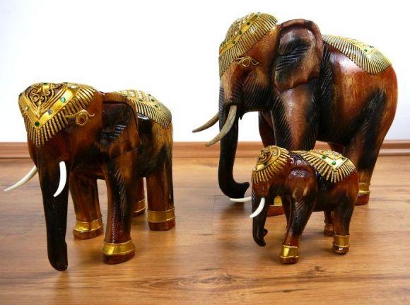 Elefanten aus Holz  *Glückselefanten*  mit Glasmosaikverzierung