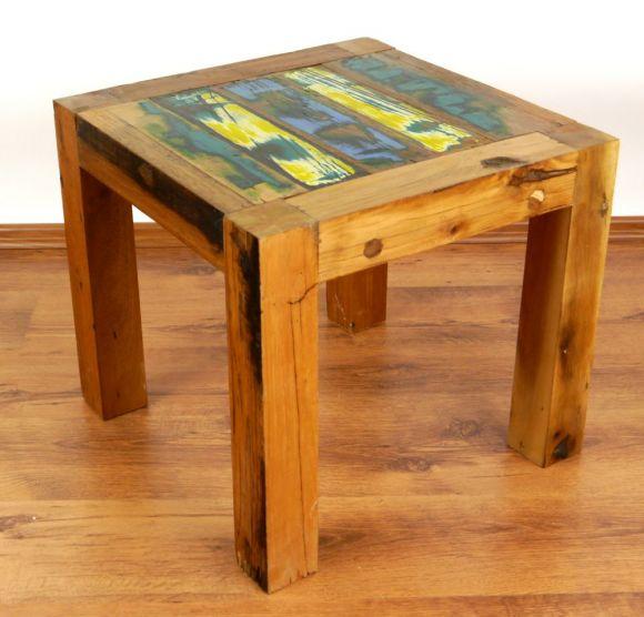 Java, Tisch aus buntem recycelten Teakholz/Bootsholz, Nr.25