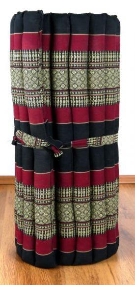Kapok Rollmatte, Thaimatte  *schwarz / rot*  Gr.M
