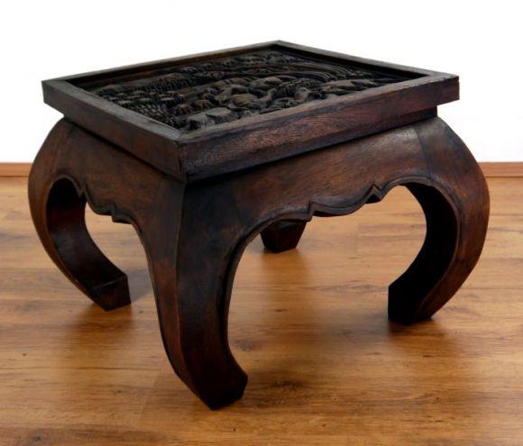 Kleiner, asiatischer Opiumtisch mit *Elefantenschnitzerei* in braun