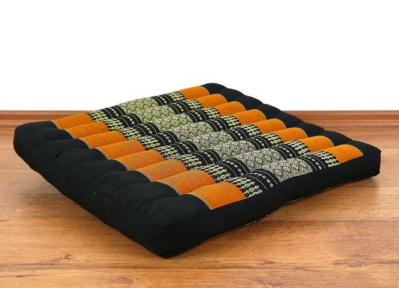 Meditationskissen, Kapoksitzkissen  *schwarz / orange*  (groß)