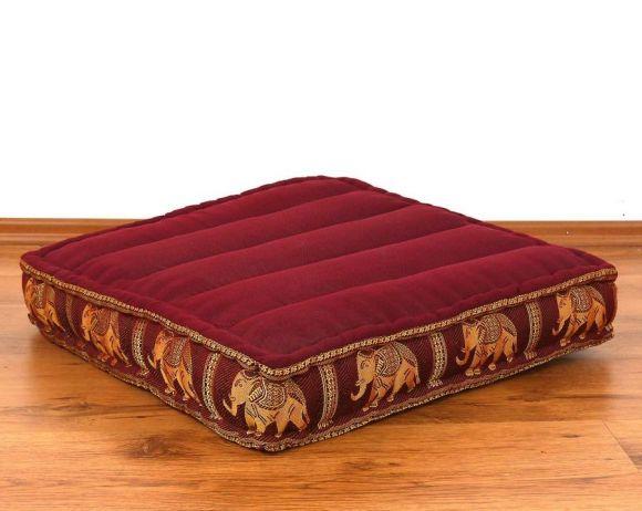 Sitzkissen, Bodensitzkissen mit Seidenstickerei  *rot - Elefanten*