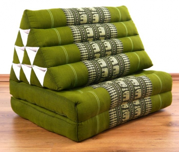 Thaikissen, Dreieckskissen, 2 Sitzauflagen  *grün - Elefanten*