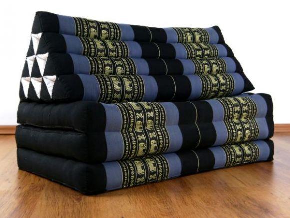 Thaikissen, Dreieckskissen  *blau / Elefanten*  (XXL-Breite)