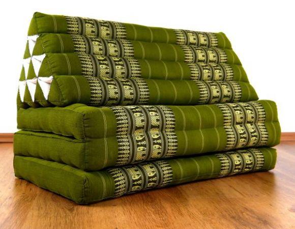 Thaikissen, Dreieckskissen  *grün / Elefanten*  XXL-Breite)