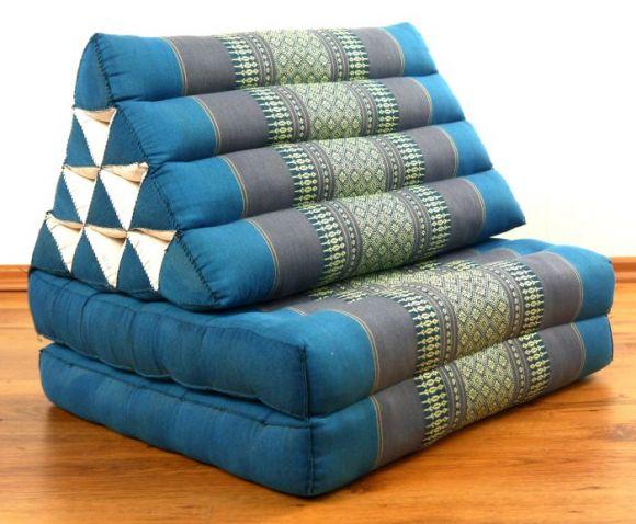 Thaikissen, Dreieckskissen, 2 Sitzauflagen  *hellblau*