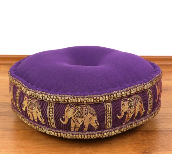 Zafukissen, Meditationskissen  *lila / Elefanten*