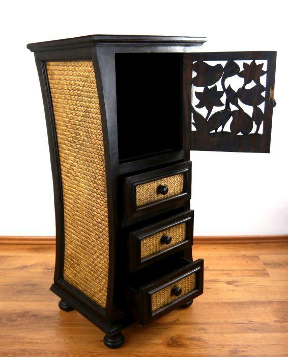 kleiner asiatischer schrank mit rattan verziert thai. Black Bedroom Furniture Sets. Home Design Ideas