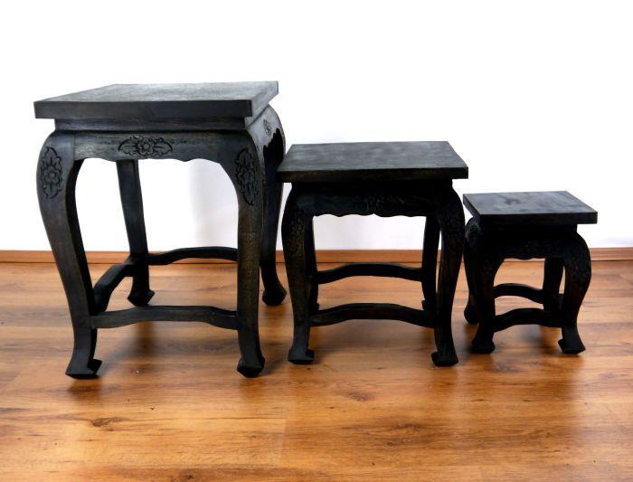 opiumtisch 3er set schwarze eleganz thai ambiente. Black Bedroom Furniture Sets. Home Design Ideas