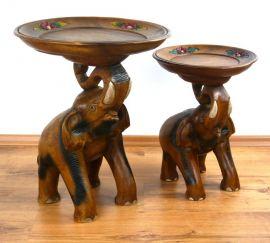 *Elefanten mit Blumenschale* aus Massivholz