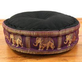 Zafukissen, Meditationskissen  *schwarz-lila / Elefanten*