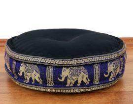 Zafukissen, Meditationskissen  *schwarz-blau/ Elefanten*