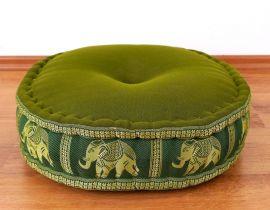 Zafukissen, Meditationskissen  *grün / Elefanten*