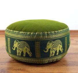 kleines Zafukissen, Meditationskissen  *grün / Elefanten*