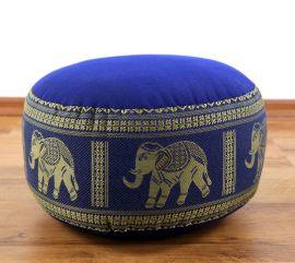 kleines Zafukissen, Meditationskissen  *blau / Elefanten*