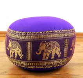 kleines Zafukissen, Meditationskissen  *lila / Elefanten*