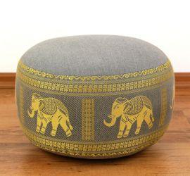 kleines Zafukissen, Meditationskissen  *hellgrau / Elefanten*