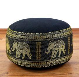 kleines Zafukissen, Meditationskissen  *schwarz / Elefanten*