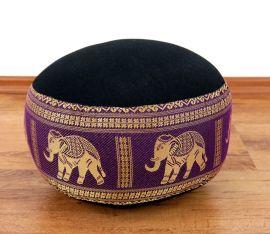 kleines Zafukissen, Meditationskissen  *schwarz-lila / Elefanten*