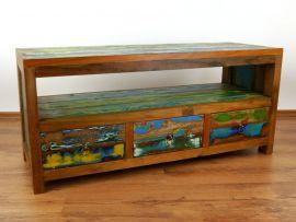 Sideboard aus recyceltem, bunten Teakholz/Bootsholz, Java (Indonesien), Nr.315