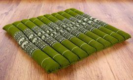 Steppkissen, Stuhlauflage  *grün / Elefanten*  (groß)