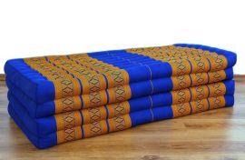 Thailändische Gästematratze, Klappmatratze *blau - gelb* XL