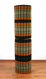 Kapok Rollmatte, Liegematte  *schwarz / orange*  Gr.XL