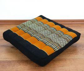 Kapok Stuhlauflage, Thaikissen  *schwarz / orange*  (klein)