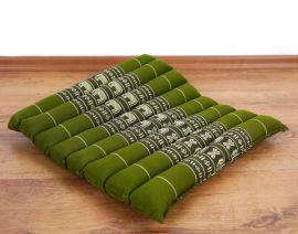 Steppkissen, Stuhlauflage  *grün / Elefanten*