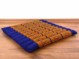 Kapok Sitzkissen, Bodenkissen  *blau / gelb*  (groß)