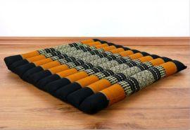 Kapok Stuhlauflage, Thaikissen  *schwarz / orange*  (groß)