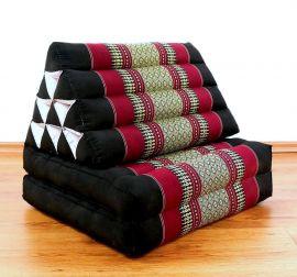 Thaikissen, Dreieckskissen, 2 Sitzauflagen  *schwarz - rot*