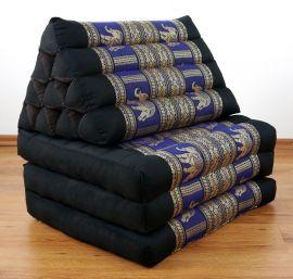 Thaikissen, Sitz- Liegekissen, Dreieckskissen  *schwarz-blau-Elefanten / Seide*