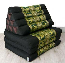 Thaikissen, Sitz- Liegekissen, Dreieckskissen  *schwarz-grün-Elefanten / Seide*