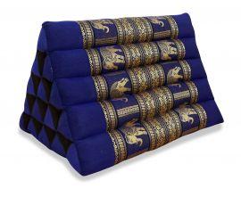 Thaikissen ohne Auflagen, Seiide  *blau / Elefanten*  (extrahoch)
