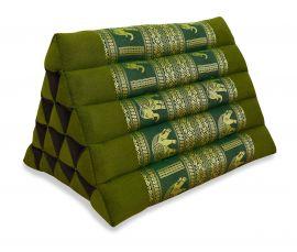 Thaikissen ohne Auflagen, Seiide  *grün / Elefanten*  (extrahoch)