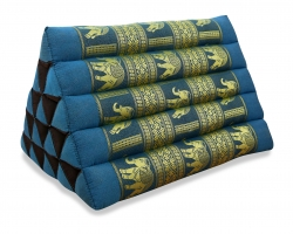 Thaikissen ohne Auflagen, Seiide  *hellblau / Elefanten*  (extrahoch)