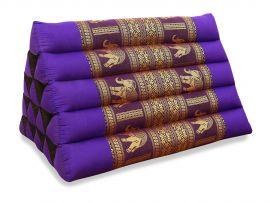 Thaikissen ohne Auflagen, Seiide  *lila / Elefanten*  (extrahoch)