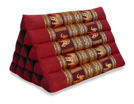 Thaikissen ohne Auflagen, Seiide  *rot / Elefanten*  (extrahoch)