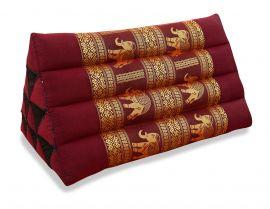 Thaikissen ohne Auflage, Seide   *rot / Elefanten*