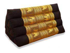 Thaikissen ohne Auflage, Seide   *braun / Elefanten*