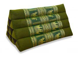 Thaikissen ohne Auflage, Seide   *grün / Elefanten*