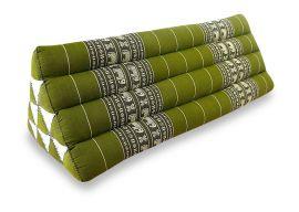 Thaikissen als Rückenstütze  *grün / Elefanten*  (extrabreit)