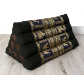 Thaikissen ohne Auflage, Seide   *schwarz-blau / Elefanten*