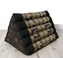 Thaikissen ohne Auflagen, Seiide  *schwarz-blau / Elefanten*  (extrahoch)